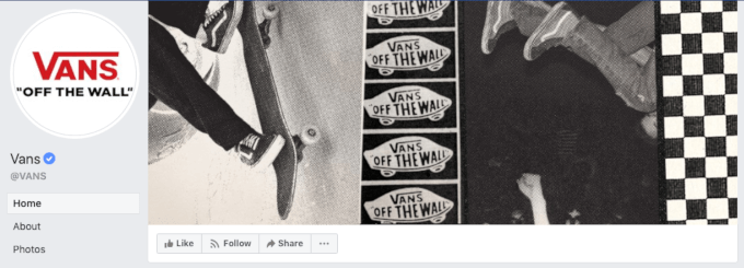 Example of a Facebook cover photo from Vans
