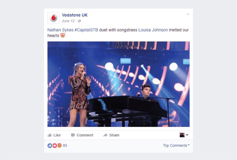 Vodafone UK Facebook Post Using Emoji