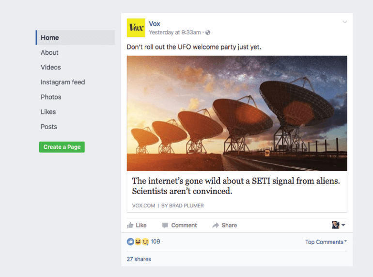 Professional Facebook post from Vox