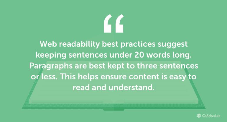 Web readability best practices suggest keeping sentences under 20 words.