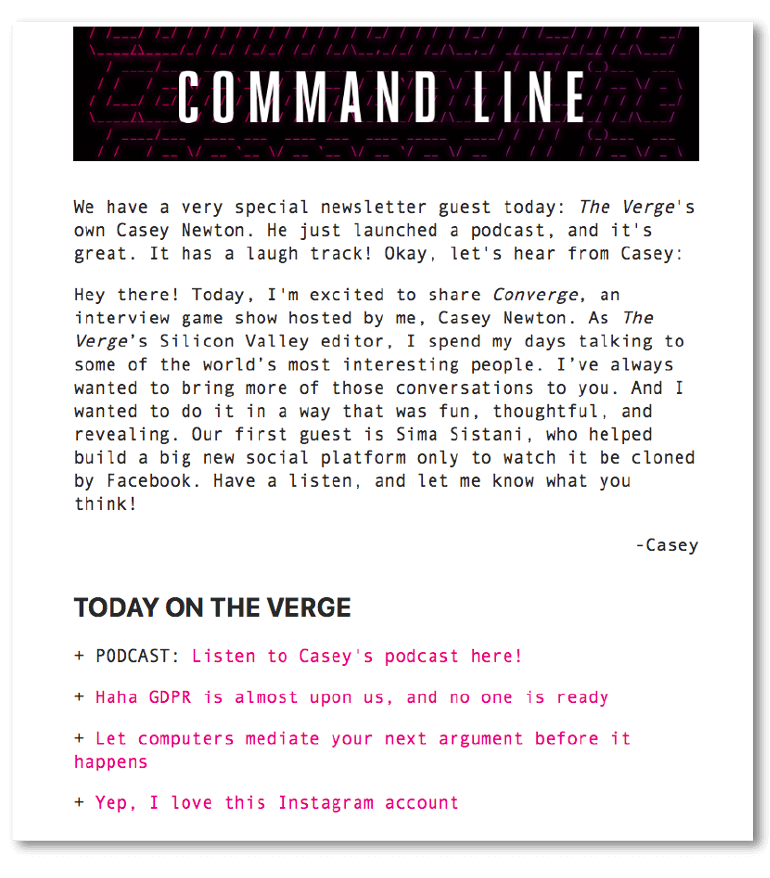 Plain text email sample from the Verge
