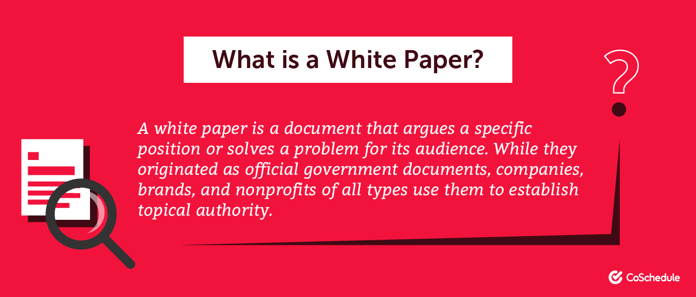 A white paper is a document that argues a specific position ...