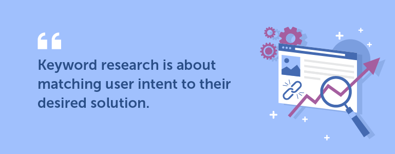 Keyword research is about mapping user intent to their desired solution.