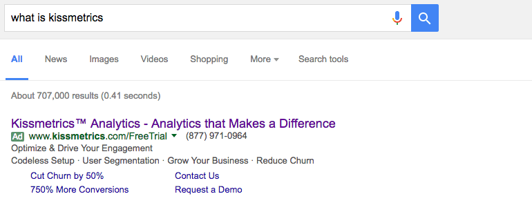 Example of a search ad