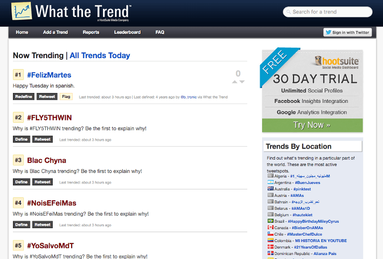 Screenshot of What The Trend