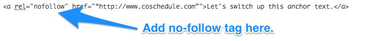 Where to add the no-follow tag in a link
