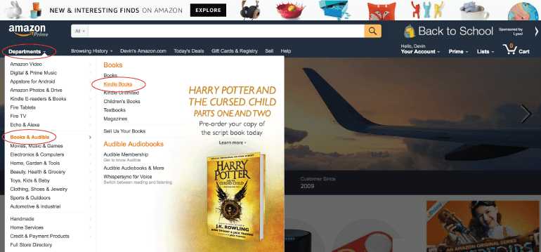 Where to find ebooks on Amazon