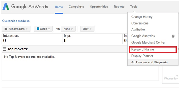 Where can you find Google's Keyword Planner?