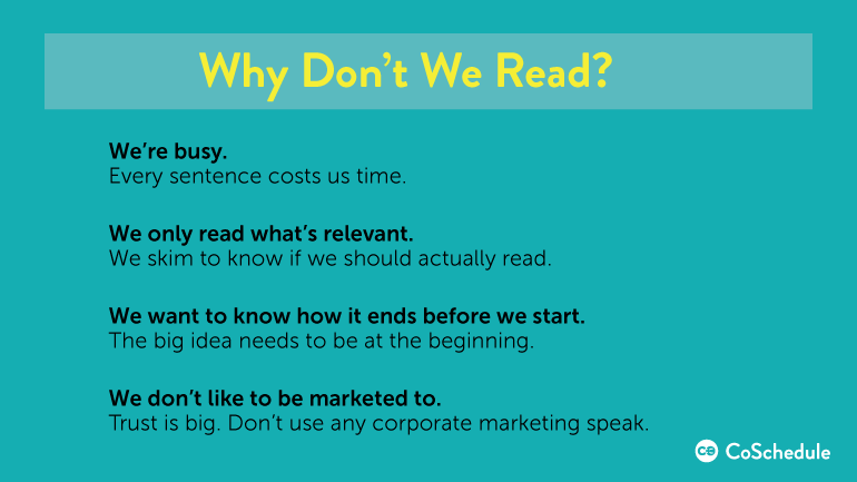 why we don't read blog content