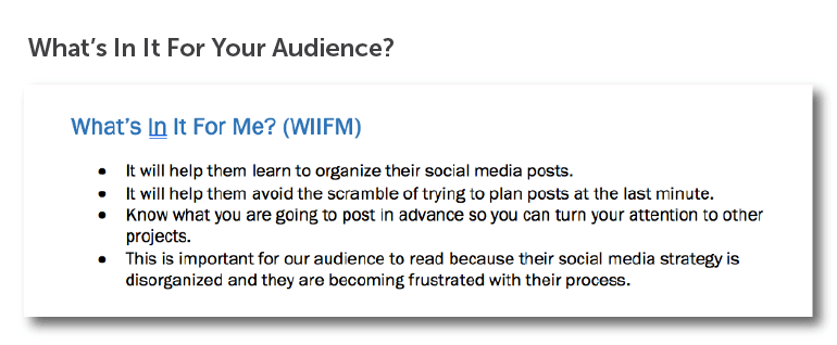 What's in it for your audience?