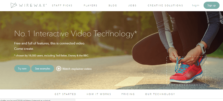 Homepage from Wirewax, an interactive video provider