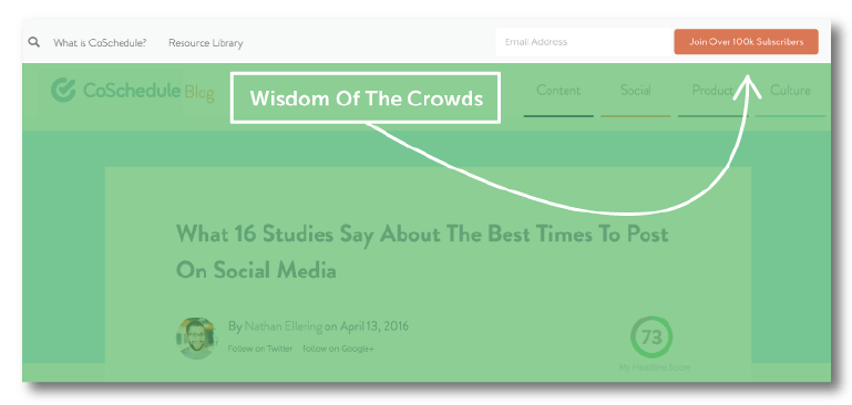 Example of social proof.