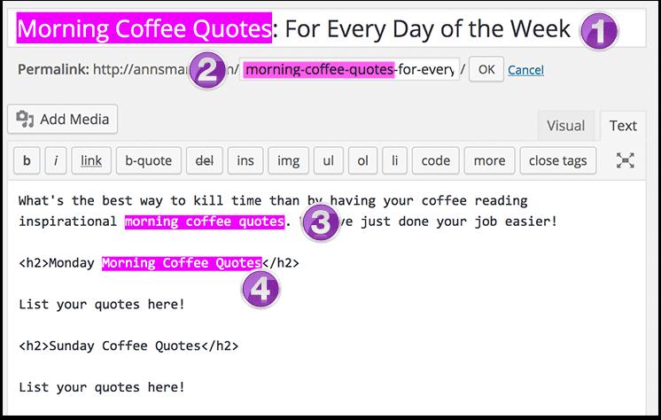 Header tags in HTML in WordPress