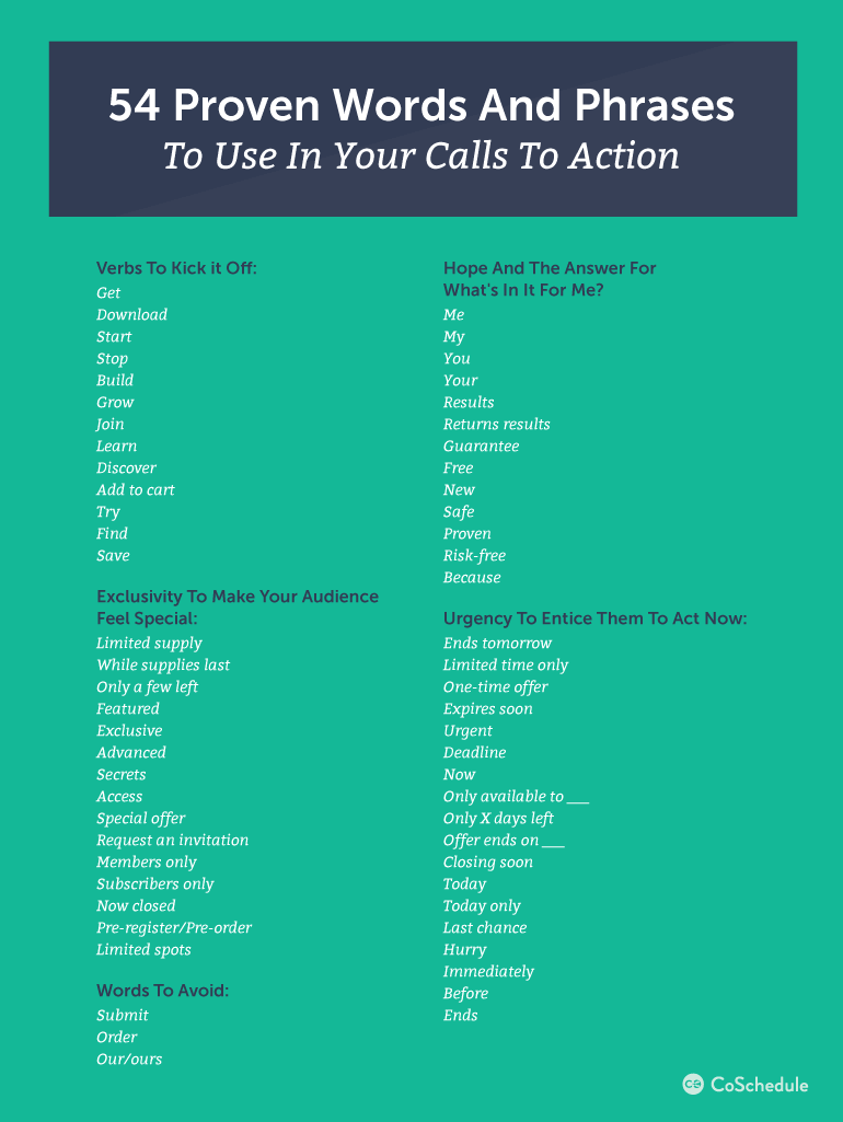 Words & Phrases To Use In Calls To Action