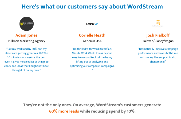 Example of stats and testimonials on a landing page