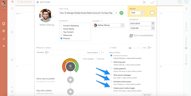 workflow for managing multiple social media accounts