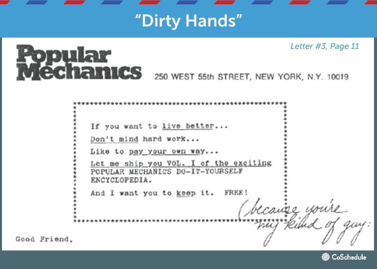 write copy dirty hands