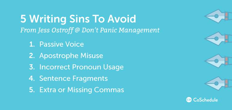 5 Writing Sins to Avoid