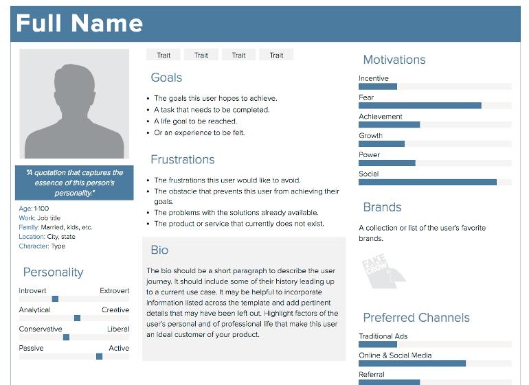 Screenshot of Xtensio's free Persona Creator