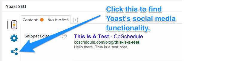 Screenshot of Yoast social media options