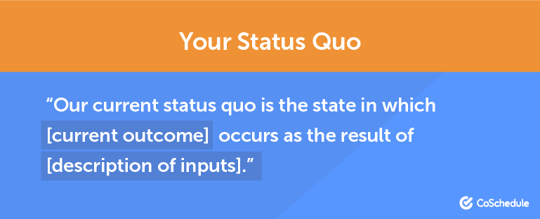"""""""Our status quo is the state in which [current outcome] occurs as the result of [description of inputs]."""""""