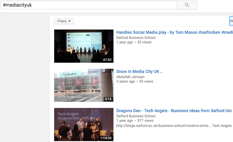 Hashtag page within YouTube